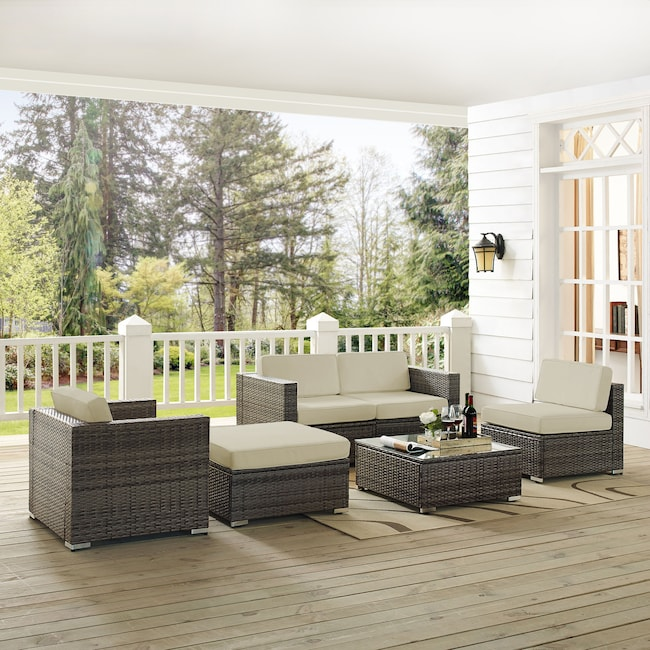 Outdoor Furniture - Lakeside 2-Piece Outdoor Loveseat, Arm Chair, Armless Chair, Ottoman, and Coffee Table Set