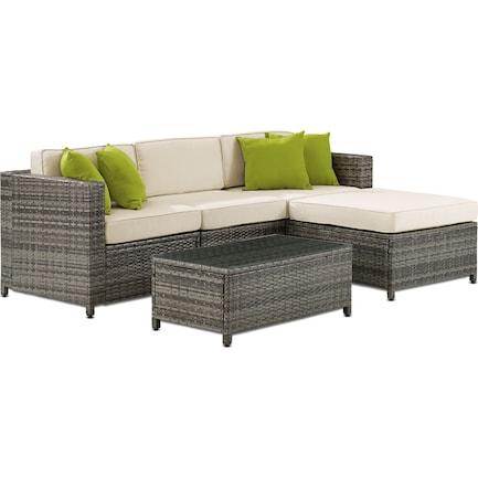 Lakeside 3-Piece Outdoor Sofa, Ottoman, and Coffee Table Set