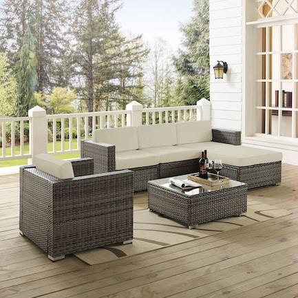 Lakeside 3-Piece Outdoor Sofa, Ottoman, Arm Chair, and Coffee Table Set