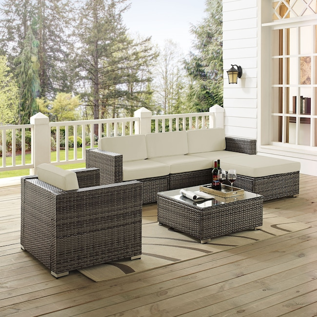 Outdoor Furniture - Lakeside 3-Piece Outdoor Sofa, Ottoman, Arm Chair, and Coffee Table Set