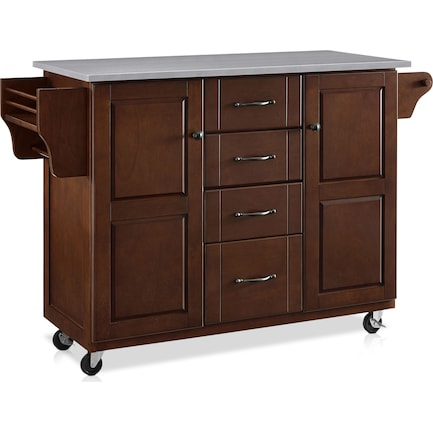 Jake Kitchen Cart - Mahogany/Stainless Steel Top