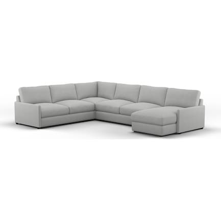 Jasper Hybrid Comfort 4-Piece Sectional with Right-Facing Chaise - Dudley Gray