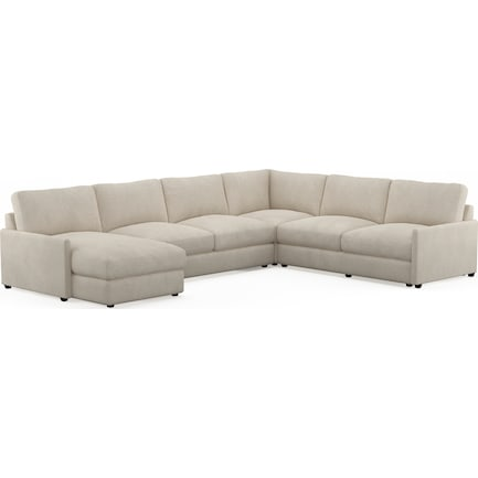Jasper Hybrid Comfort Performance Fabric 4-Piece Sectional with Left-Facing Chaise - Halifax Shell