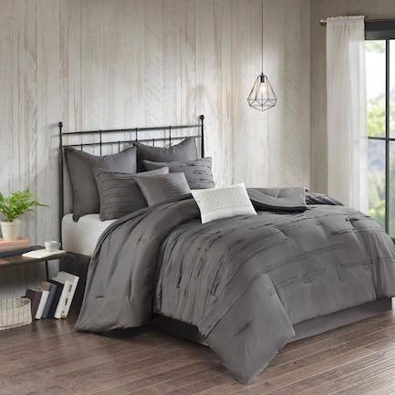 Jaycee Queen Comforter Set - Gray