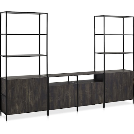 Kaplan 3-Piece Entertainment Center with Media Console and 2 Large Etageres