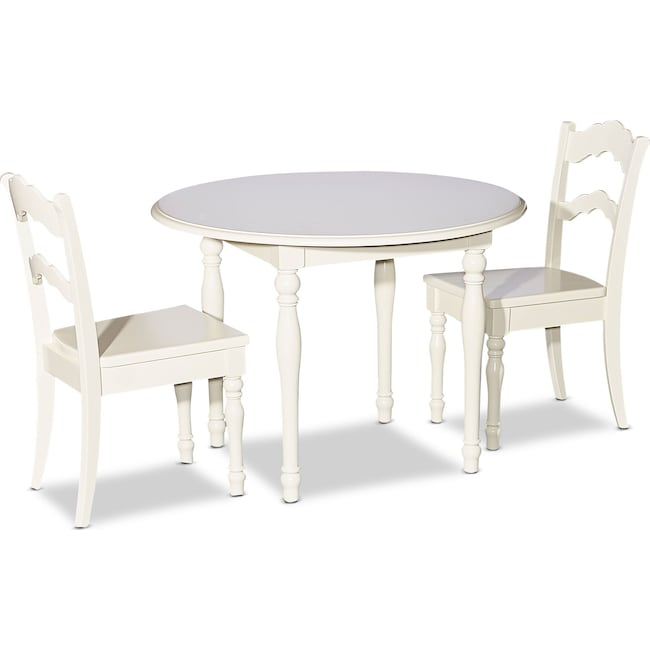 Kids Furniture - Kendall Youth Table and 2 Chairs - White