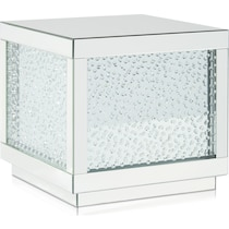 krystal silver end table