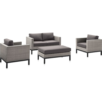 Laguna Outdoor Loveseat, 2 Armchairs, and Ottoman Set - Gray