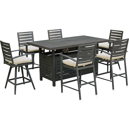 Lakeway Fire Table, 2 Counter-Height Swivel Stools and 4 Counter-Height Stools