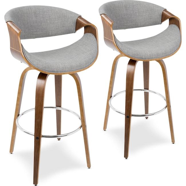 Dining Room Furniture - Leo Set of 2 Swivel Bar Stools