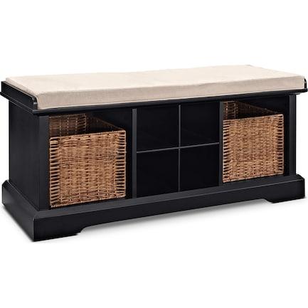 Levi Entryway Storage Bench - Black