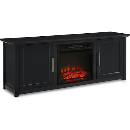 """Lucas 58"""" TV Stand with Fireplace - Black"""