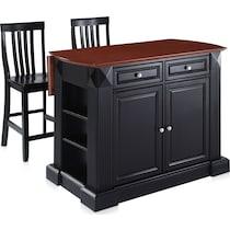 luther black kitchen island set