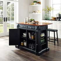 luther black kitchen island set