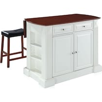 luther white kitchen island set