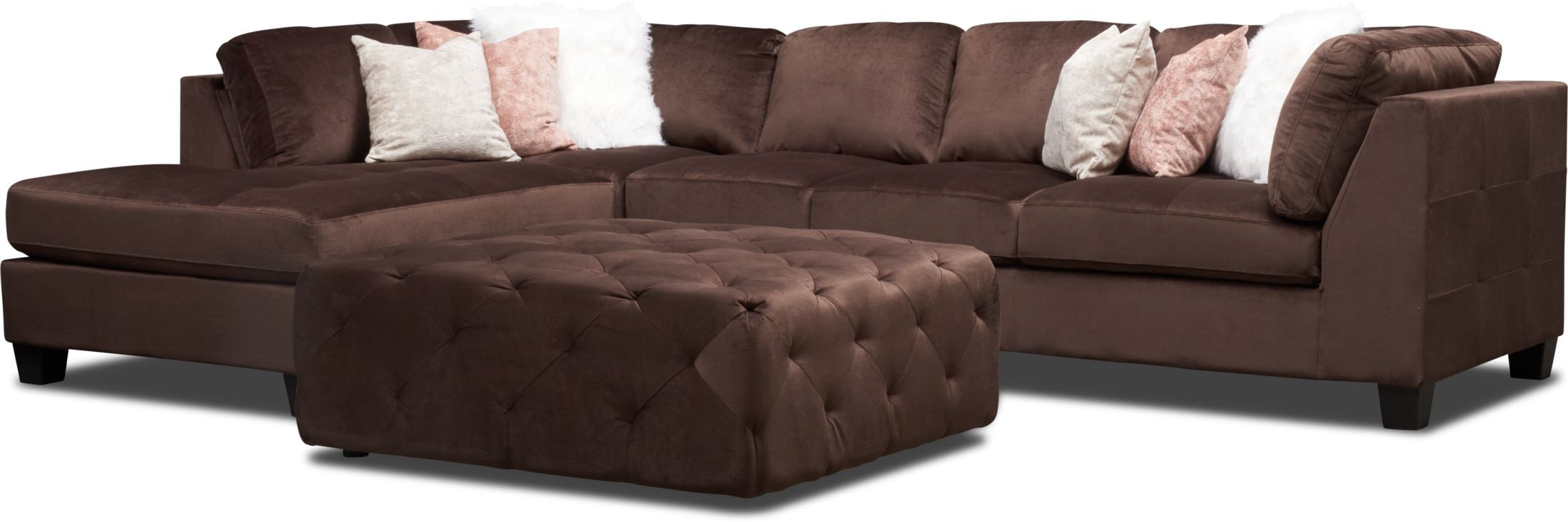Living Room Furniture - Mackenzie 2-Piece Sectional and Ottoman