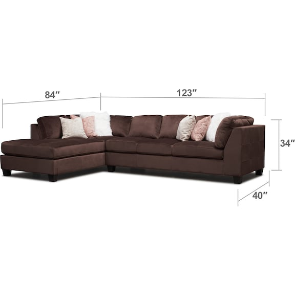 Living Room Furniture - Mackenzie 2-Piece Sectional with Chaise and Ottoman