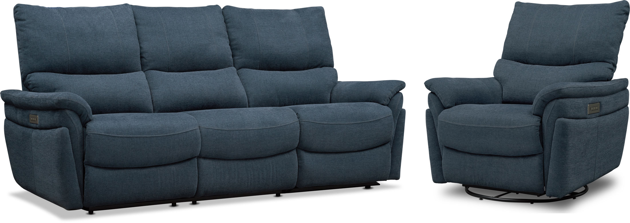 Living Room Furniture - Maddox Triple-Power Reclining Sofa and Swivel Recliner