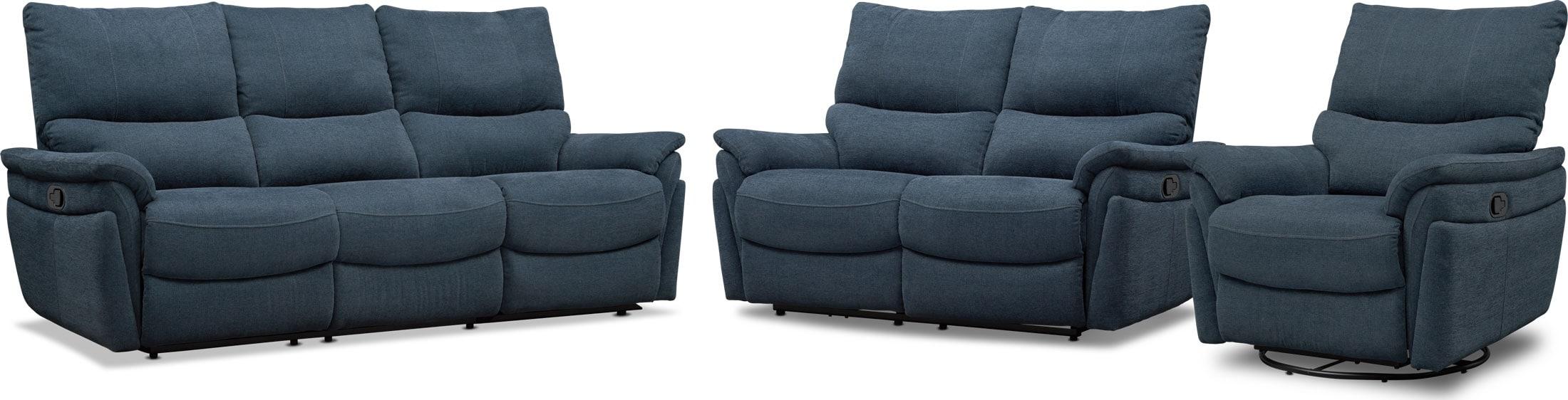 Living Room Furniture - Maddox Manual Reclining Sofa, Loveseat and Swivel Recliner