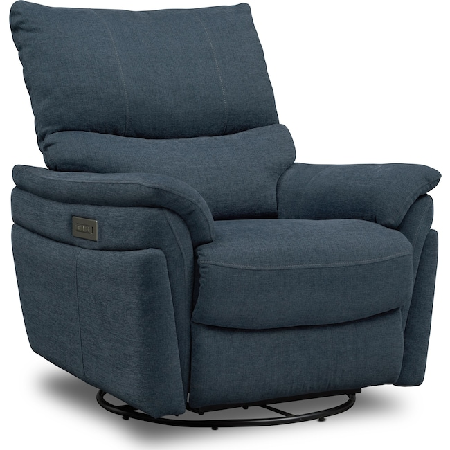 Living Room Furniture - Maddox Triple-Power Swivel Recliner