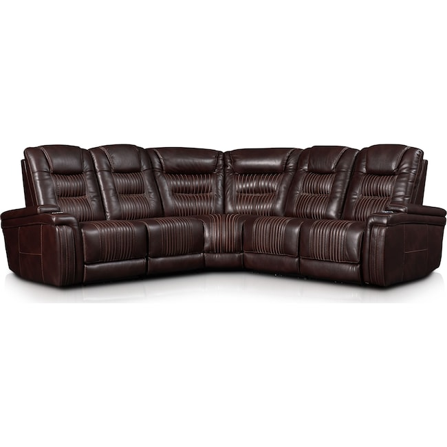 Living Room Furniture - Magnus 5-Piece Triple-Power Reclining Sectional with 3 Reclining Seats