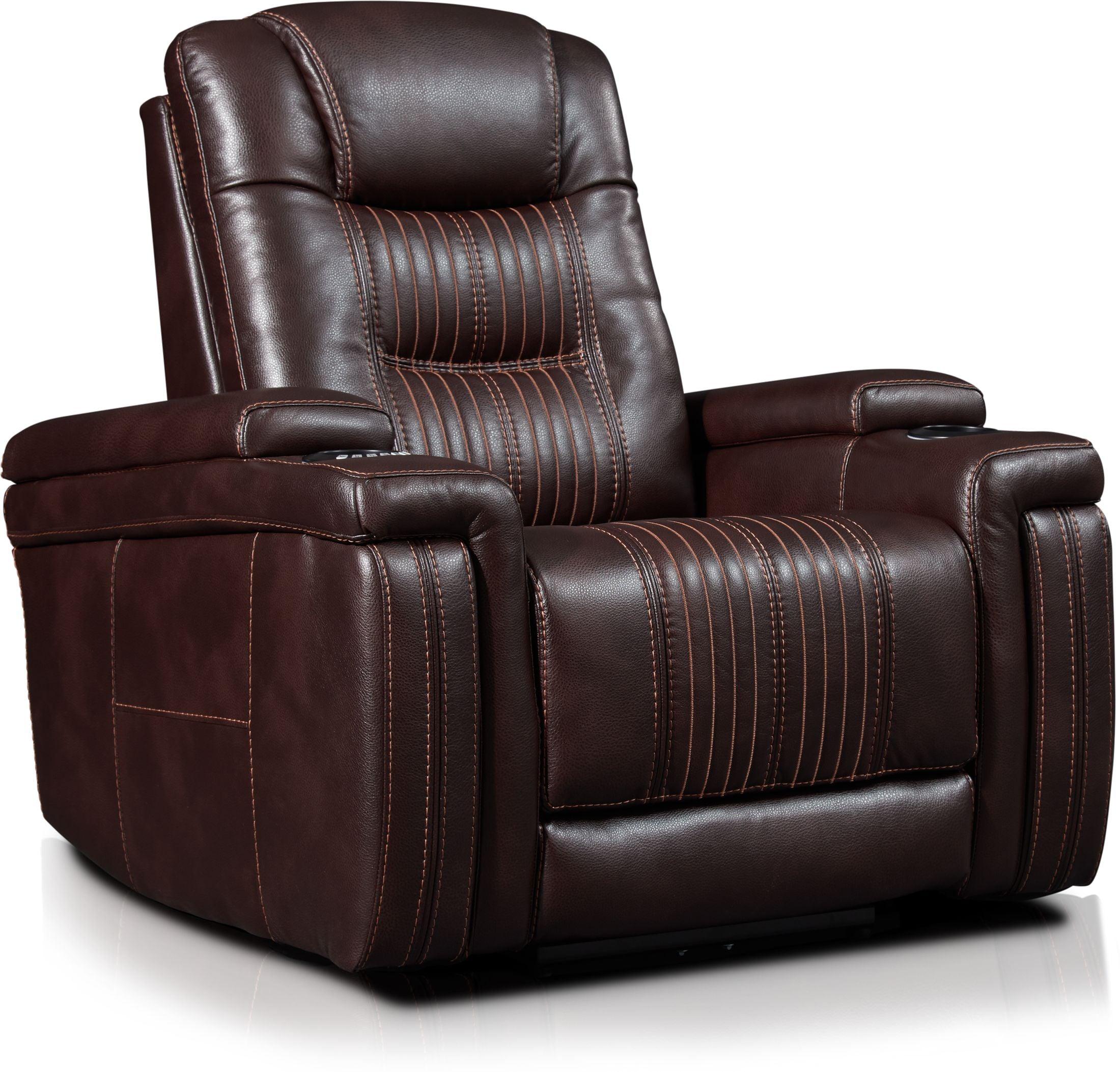 Living Room Furniture - Magnus Triple-Power Recliner - Brown