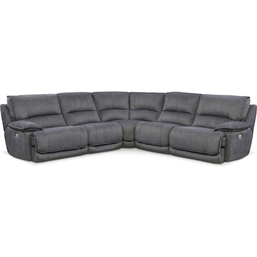 Mario 5-Piece Dual-Power Reclining Sectional with 3 Reclining Seats - Charcoal