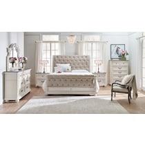 mayfair white king upholstered bed