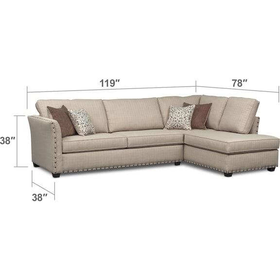 Living Room Furniture - Mckenna 2-Piece Queen Sleeper Sectional