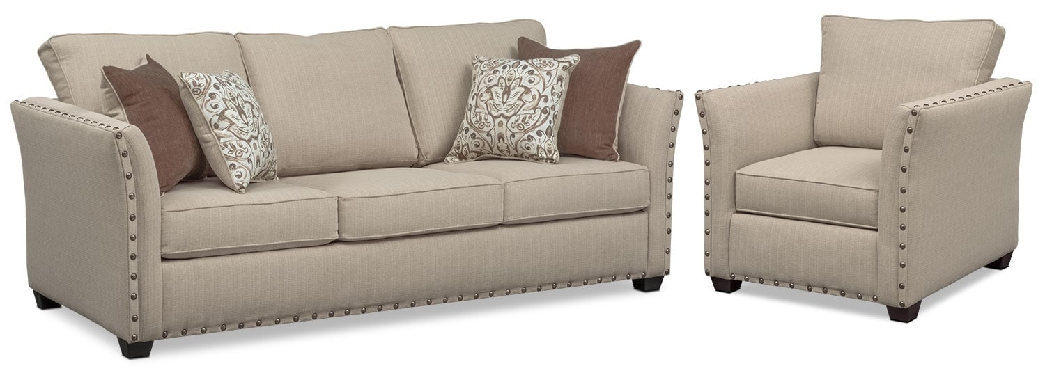 - Mckenna Queen Sleeper Sofa And Chair Set American Signature