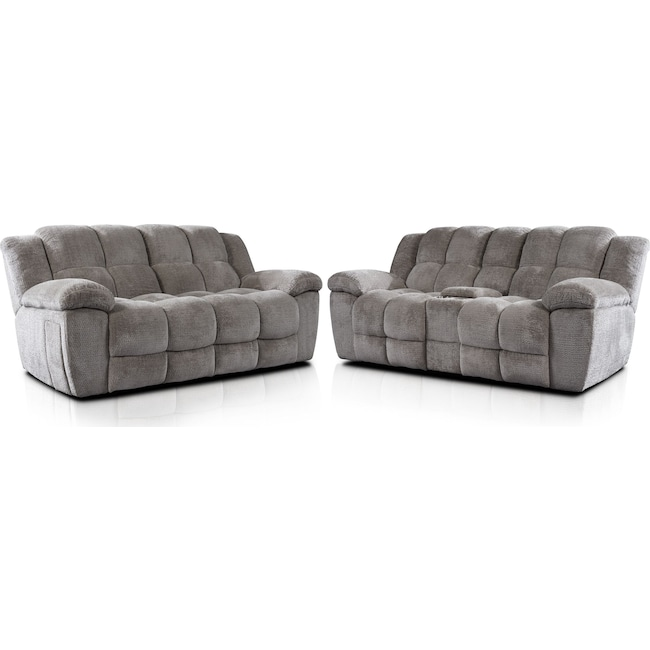 Living Room Furniture - Mellow Manual Reclining Sofa and Loveseat Set - Stone