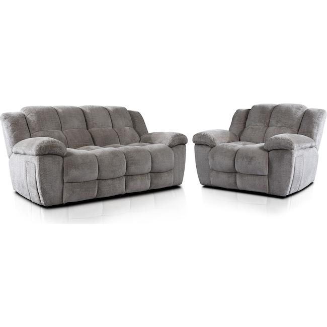 Living Room Furniture - Mellow Manual Reclining Sofa and Recliner Set - Stone