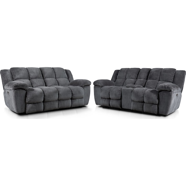 Living Room Furniture - Mellow Dual-Power Reclining Sofa and Loveseat Set - Gray