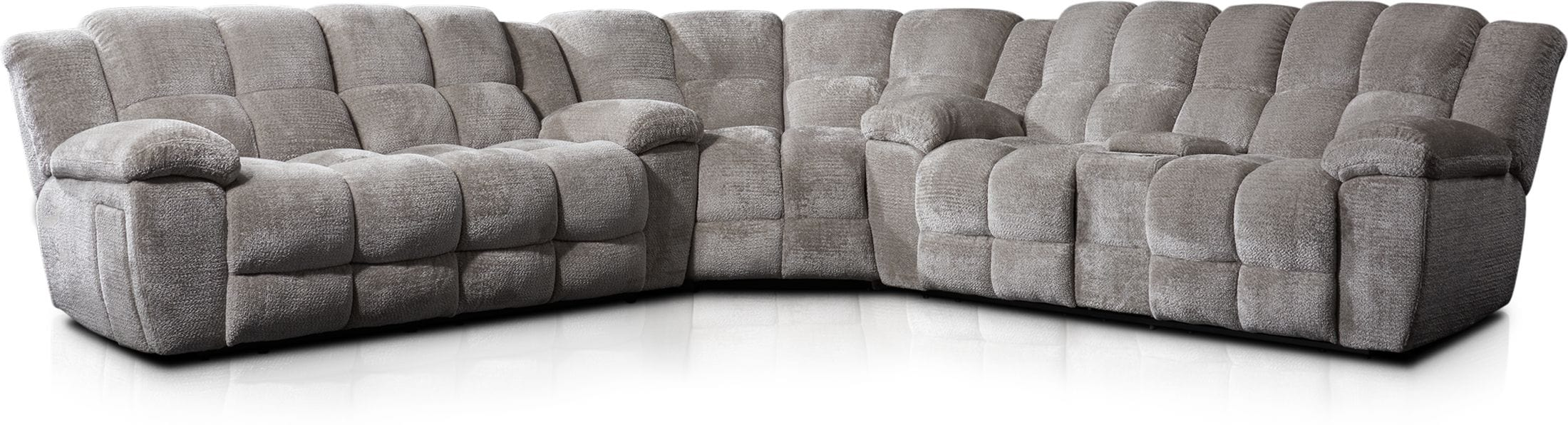 Living Room Furniture - Mellow 3-Piece Manual Reclining Sectional with 4 Reclining Seats - Stone