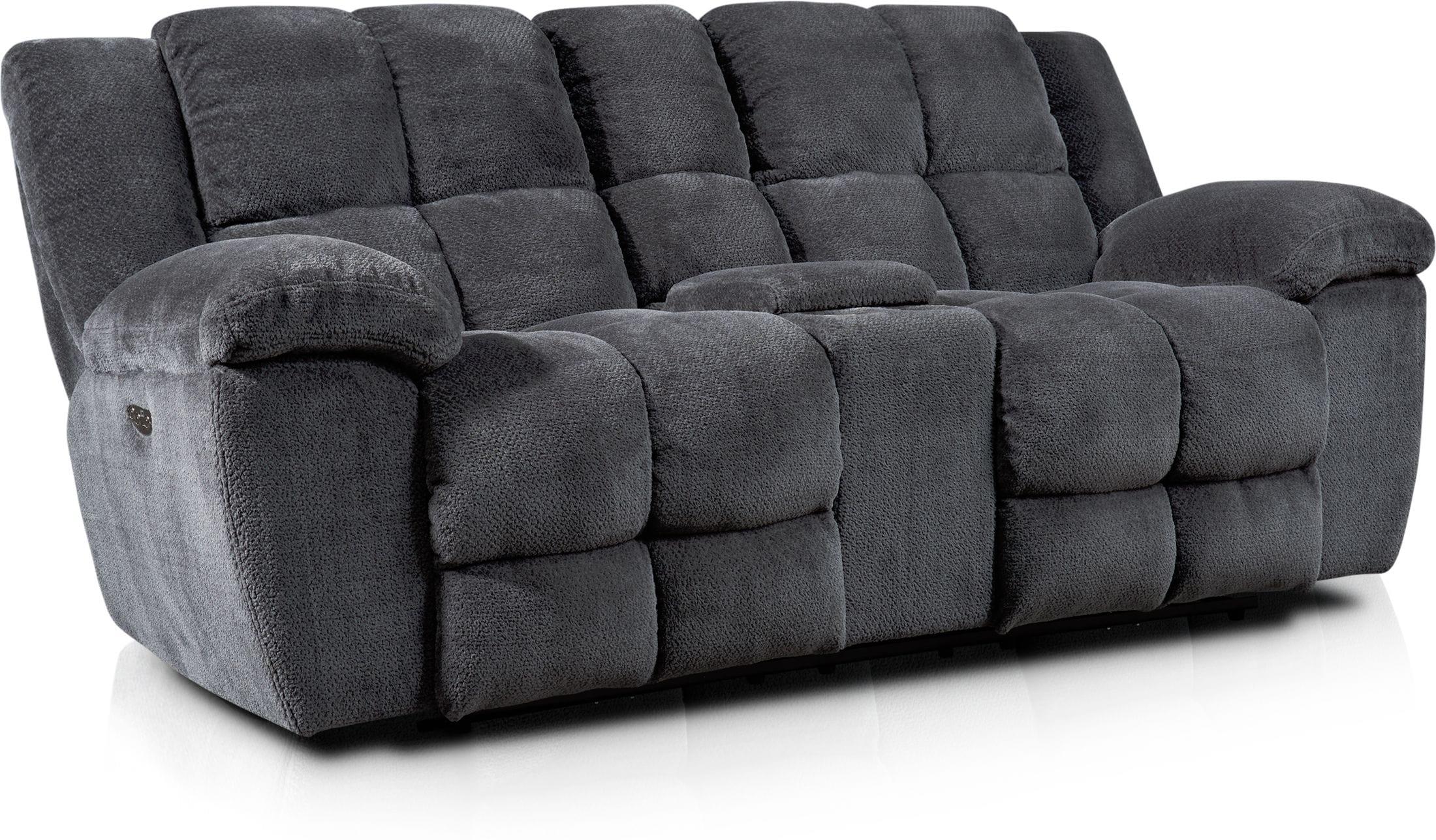 Living Room Furniture - Mellow Dual-Power Reclining Loveseat - Gray