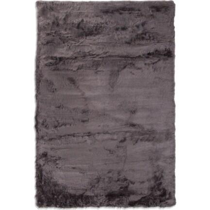 Faux Mink Fur 8' x 10' Area Rug - Charcoal