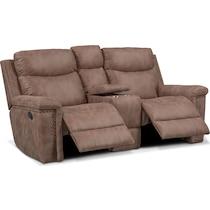 montana manual light brown manual reclining loveseat