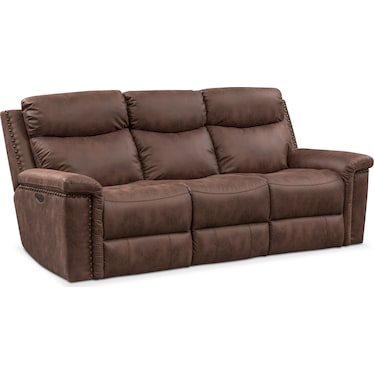 Montana Dual-Power Reclining Sofa - Brown