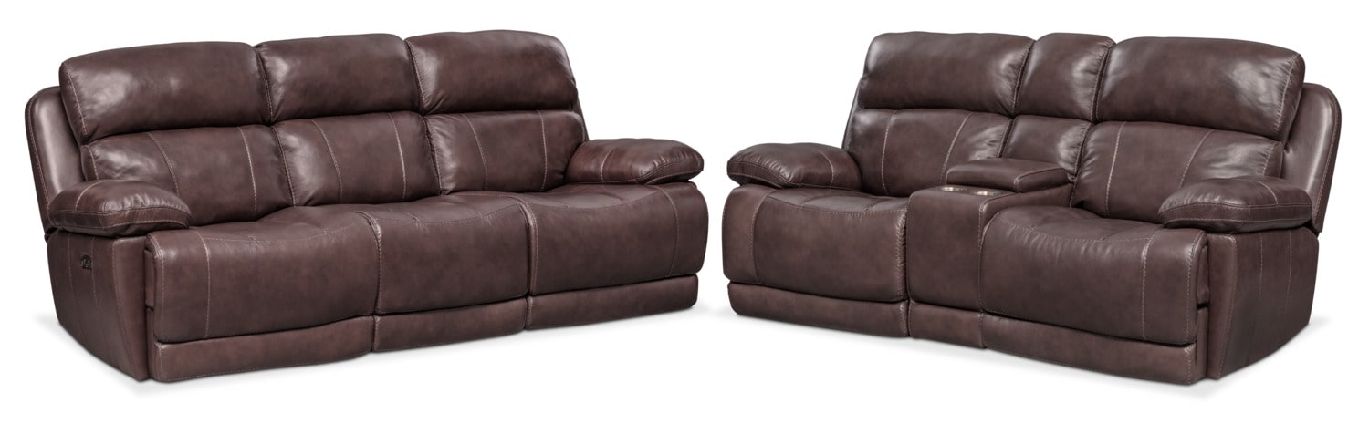 Living Room Furniture - Monte Carlo Dual-Power Reclining Sofa and Loveseat Set