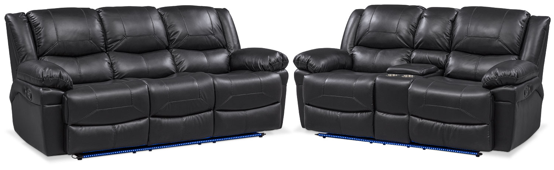 Living Room Furniture - Monza Manual Reclining Sofa and Loveseat Set