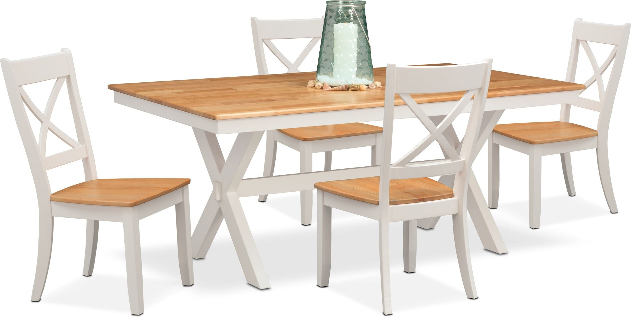 Dining Room Furniture - Nantucket Trestle Dining Table and 4 Dining Chairs