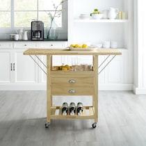 nell light brown kitchen cart