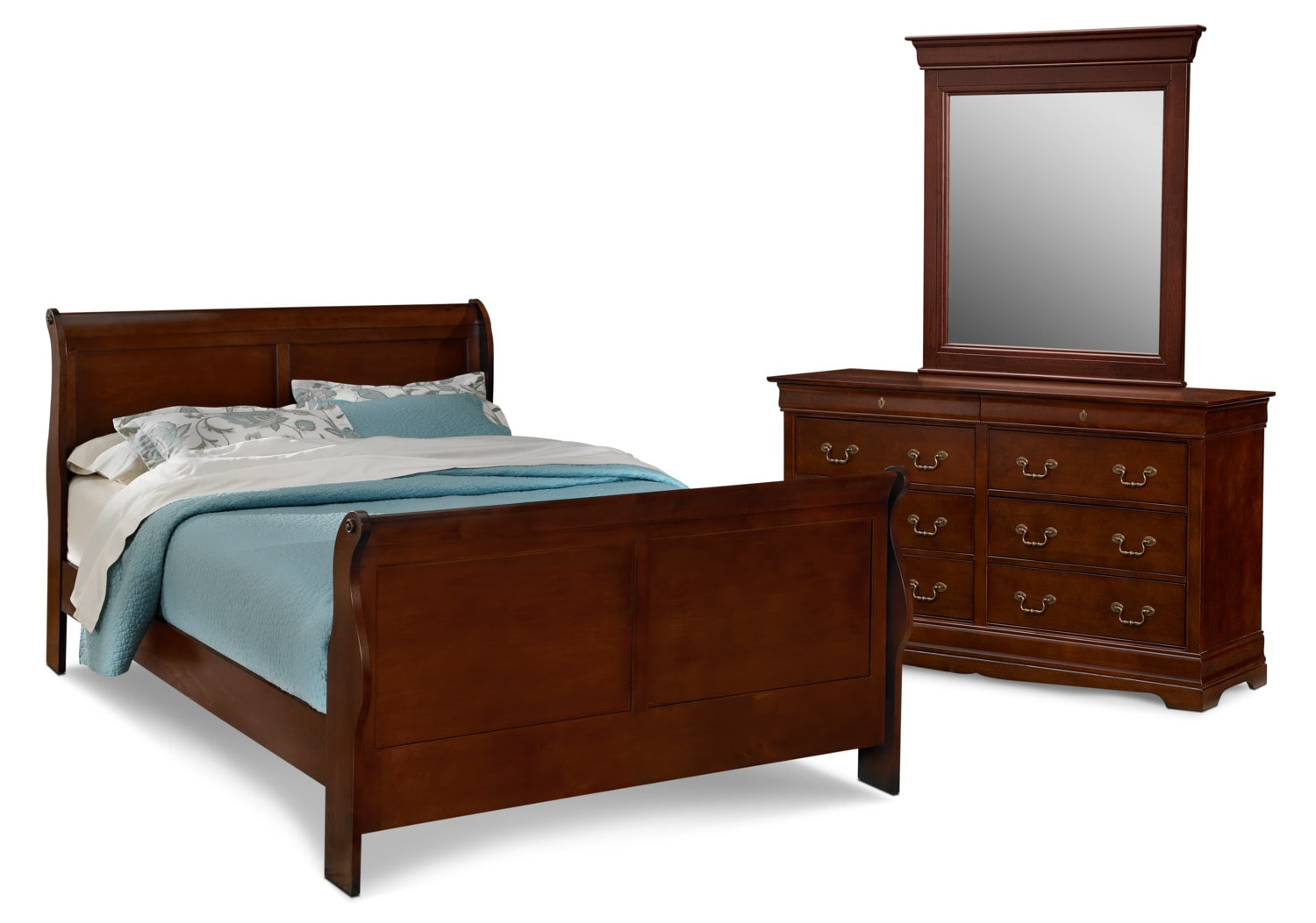 Bedroom Furniture - Neo Classic 5-Piece Bedroom Set with Dresser and Mirror