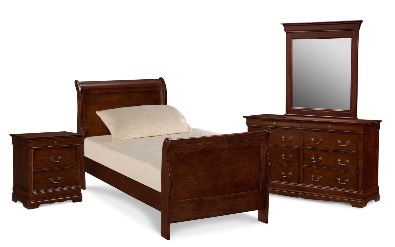 Bedroom Furniture - Neo Classic Youth 6-Piece Bedroom Set with Nightstand, Dresser and Mirror