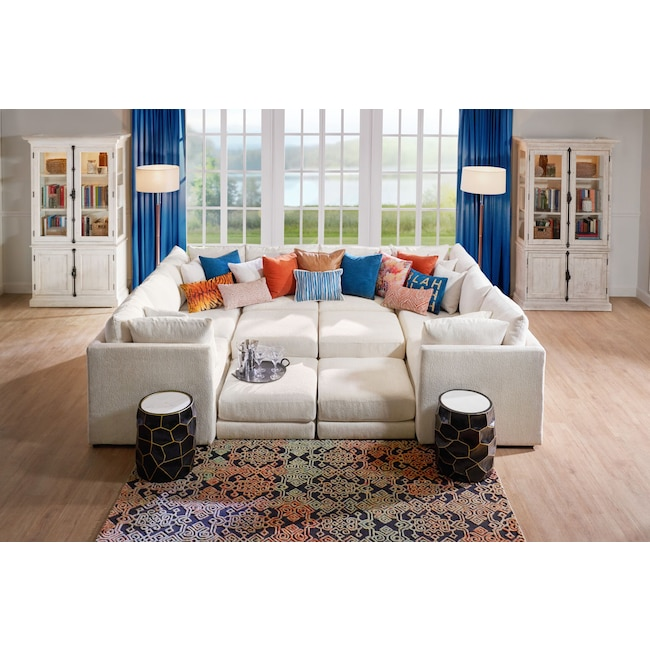 Living Room Furniture - Nest 7-Piece Pit Sectional - Ivory