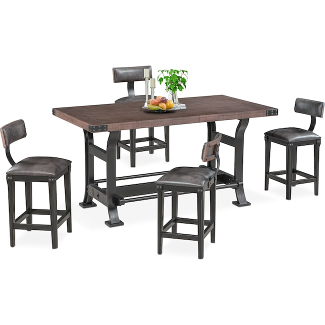 Dining Room Furniture - Newcastle Counter-Height Dining Table and 4 Stools