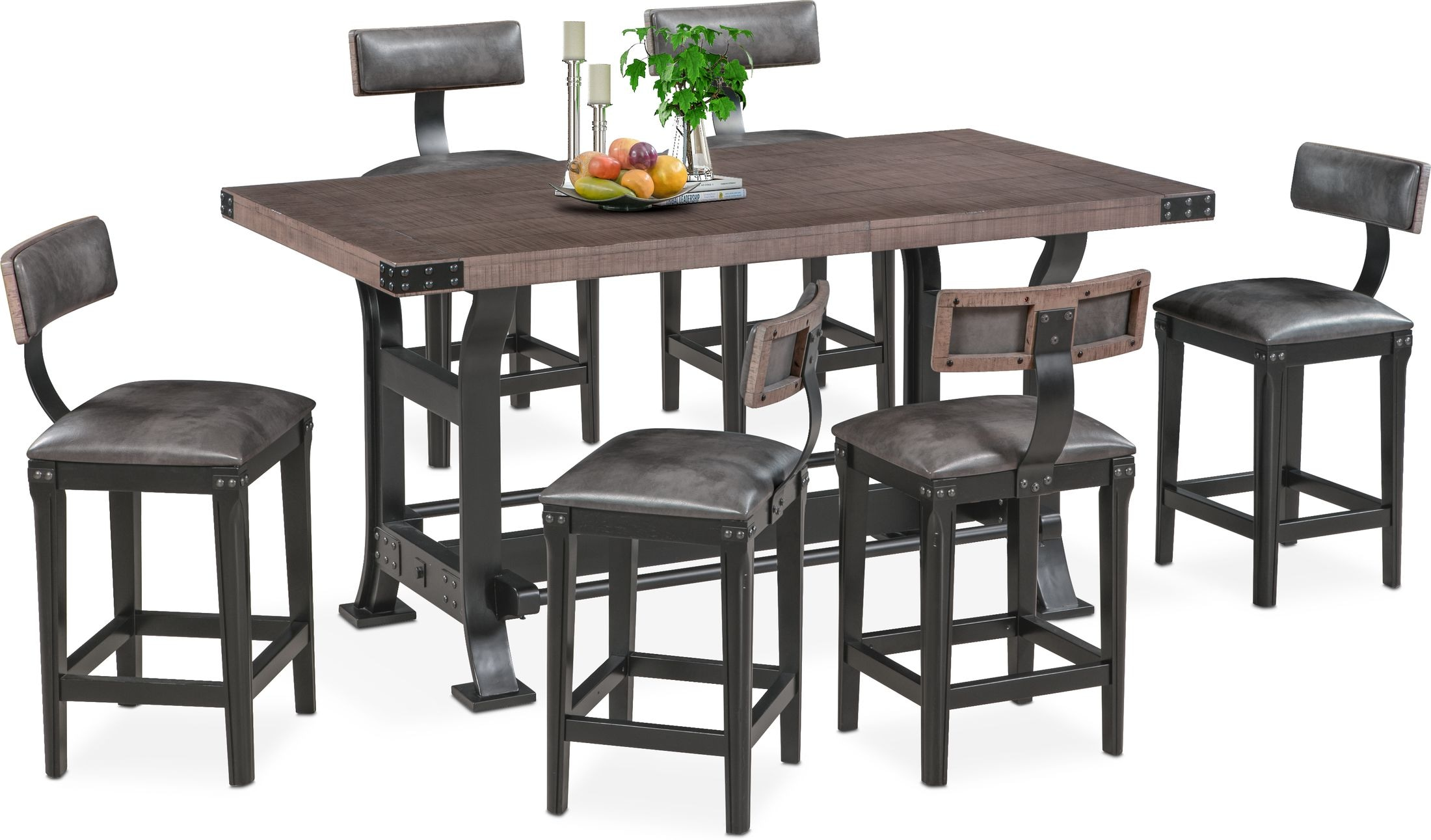 Dining Room Furniture - Newcastle Counter-Height Dining Table and 6 Stools