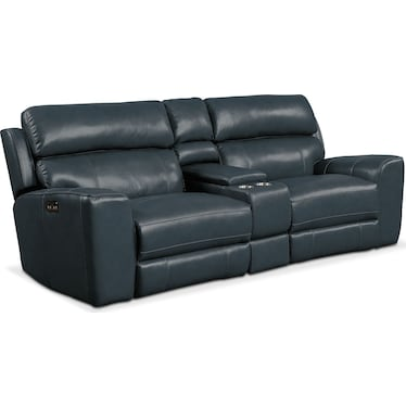Newport 3-Piece Dual-Power Reclining Sofa with Console - Blue