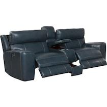 newport blue  pc power reclining sofa