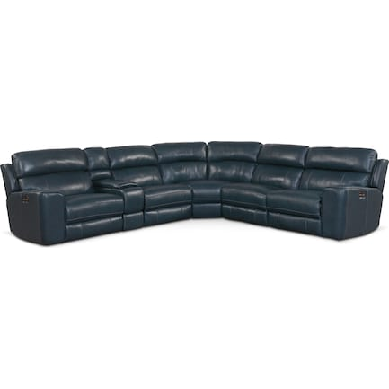 Newport 6-Piece Dual-Power Reclining Sectional with 3 Reclining Seats - Blue